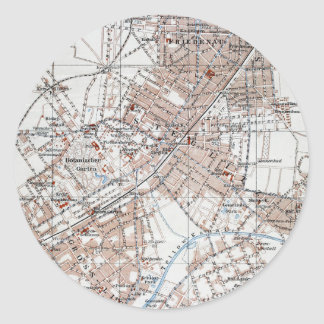 Mapa del vintage de la Berlín Alemania Suburbs Etiqueta Redonda