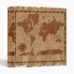 Mapa del vintage de la carpeta de Avery del mundo