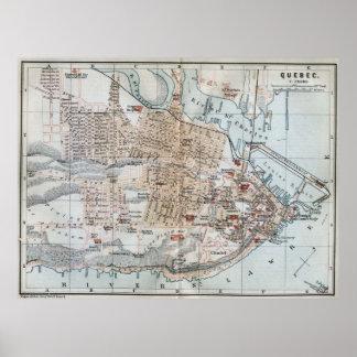 Mapa del vintage de la ciudad de Quebec (1894) Póster
