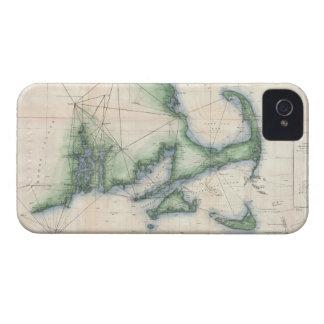 Mapa del vintage de la costa costa de Massachusett iPhone 4 Case-Mate Cobertura