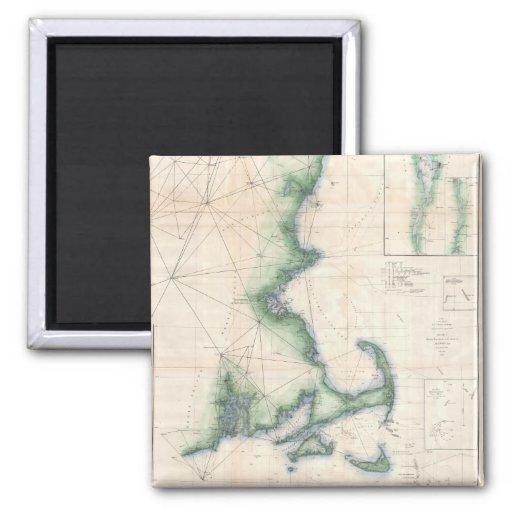 Mapa del vintage de la costa costa de Massachusett Imán Cuadrado
