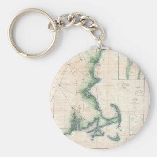 Mapa del vintage de la costa costa de Massachusett Llavero Redondo Tipo Pin