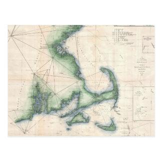 Mapa del vintage de la costa costa de Massachusett Tarjeta Postal