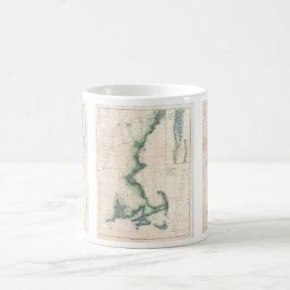 Mapa del vintage de la costa costa de Massachusett Taza De Café