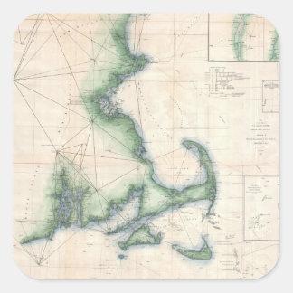 Mapa del vintage de la costa costa de pegatina cuadrada