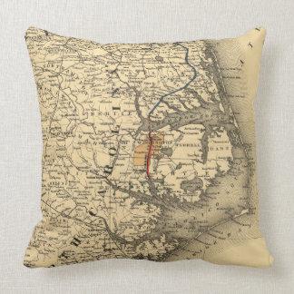 Mapa del vintage de la costa de Carolina del Norte Cojín