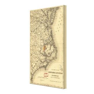 Mapa del vintage de la costa de Carolina del Norte Impresión En Lona
