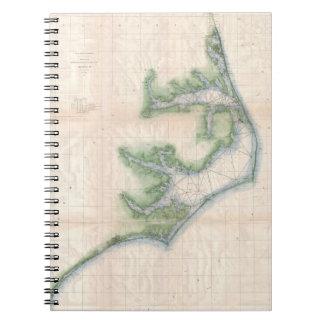 Mapa del vintage de la costa de Carolina del Norte Libros De Apuntes