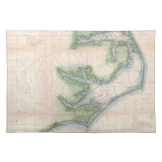 Mapa del vintage de la costa de Carolina del Norte Manteles