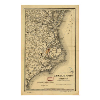 Mapa del vintage de la costa de Carolina del Norte Impresiones