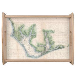 Mapa del vintage de la costa de Carolina del Norte Bandeja