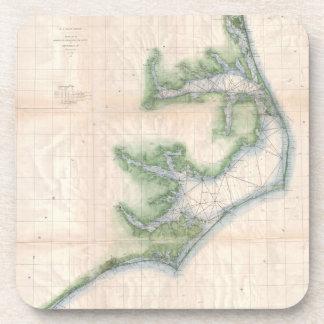 Mapa del vintage de la costa de Carolina del Norte Posavaso