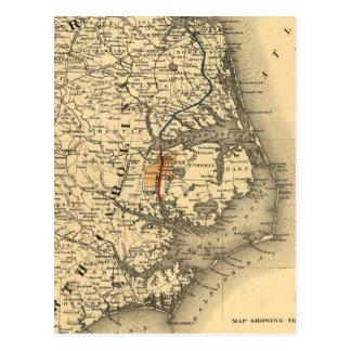 Mapa del vintage de la costa de Carolina del Norte Postales