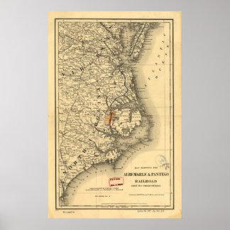 Mapa del vintage de la costa de Carolina del Norte Póster