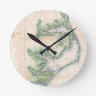 Mapa del vintage de la costa de Carolina del Norte Relojes