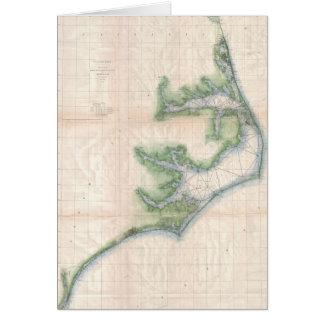 Mapa del vintage de la costa de Carolina del Norte Tarjetón