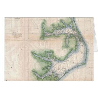 Mapa del vintage de la costa de Carolina del Norte Tarjeta De Felicitación