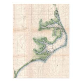 Mapa del vintage de la costa de Carolina del Norte Tarjetas Postales