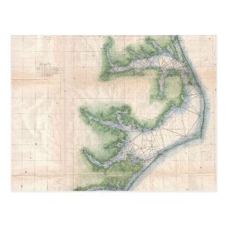 Mapa del vintage de la costa de Carolina del Norte Tarjeta Postal