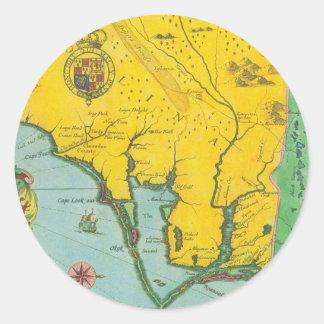 Mapa del vintage de la costa de Carolina Etiqueta Redonda