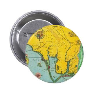 Mapa del vintage de la costa de Carolina Pin