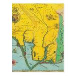 Mapa del vintage de la costa de Carolina Postales