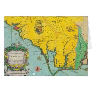 Mapa del vintage de la costa de Carolina Tarjeta