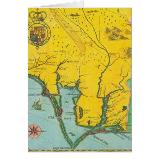 Mapa del vintage de la costa de Carolina Tarjeta De Felicitación