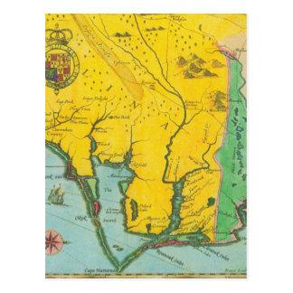 Mapa del vintage de la costa de Carolina Tarjetas Postales