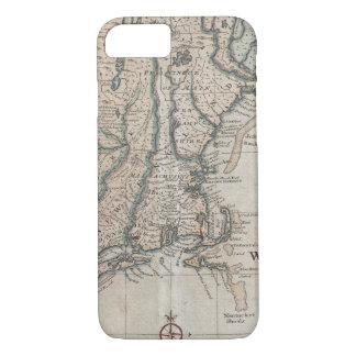 Mapa del vintage de la costa de Nueva Inglaterra Funda iPhone 7