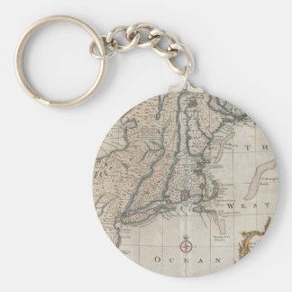 Mapa del vintage de la costa de Nueva Inglaterra ( Llavero Redondo Tipo Pin