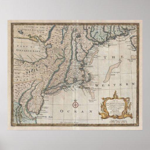 Mapa del vintage de la costa de Nueva Inglaterra ( Posters