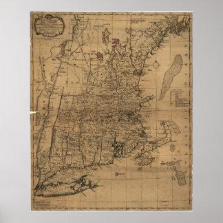 Mapa del vintage de la costa de Nueva Inglaterra Póster