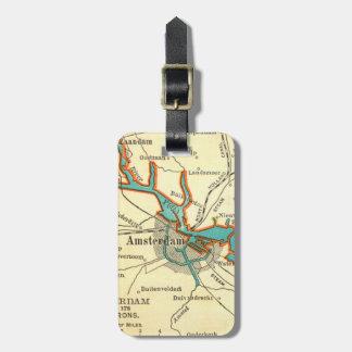 Mapa del vintage de la etiqueta del equipaje de AM Etiquetas De Maletas