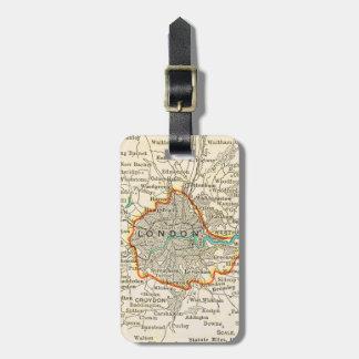 Mapa del vintage de la etiqueta del equipaje de LO Etiquetas De Equipaje