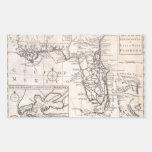 Mapa del vintage de la Florida (1763) Pegatina Rectangular