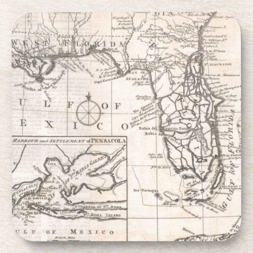 Mapa del vintage de la Florida (1763) Posavasos