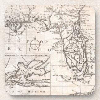 Mapa del vintage de la Florida (1763) Posavasos De Bebida