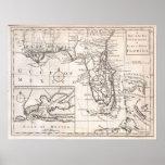 Mapa del vintage de la Florida (1763) Posters
