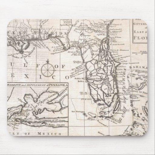 Mapa del vintage de la Florida (1763) Alfombrilla De Raton