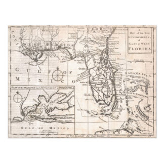 Mapa del vintage de la Florida (1763) Postal