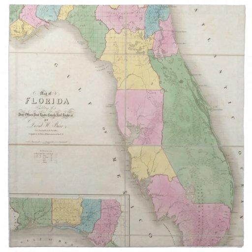 Mapa del vintage de la Florida (1839) Servilleta De Papel
