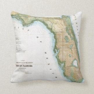 Mapa del vintage de la Florida (1848) Almohada