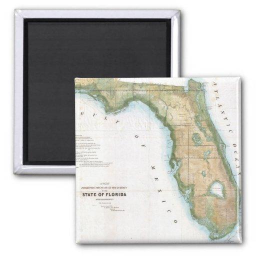 Mapa del vintage de la Florida (1848) Imán Cuadrado