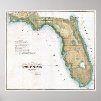 Mapa del vintage de la Florida (1848) Póster