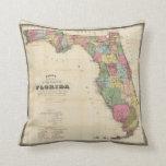 Mapa del vintage de la Florida (1870) Cojin