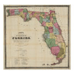 Mapa del vintage de la Florida (1870) Impresiones
