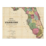 Mapa del vintage de la Florida (1870) Postal
