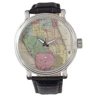 Mapa del vintage de la Florida (1870) Relojes De Pulsera