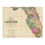 Mapa del vintage de la Florida (1870) Tarjetas Postales
